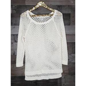 American Eagle Open Knit Pullover Sweater Split L
